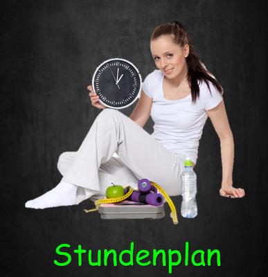 Stundenplan, Gruppentraining, Groupfitness, Personal Training, Ernährungstraining, Zirkeltraining, Fit n Funky, Kinderfitness, Teenager Fitness