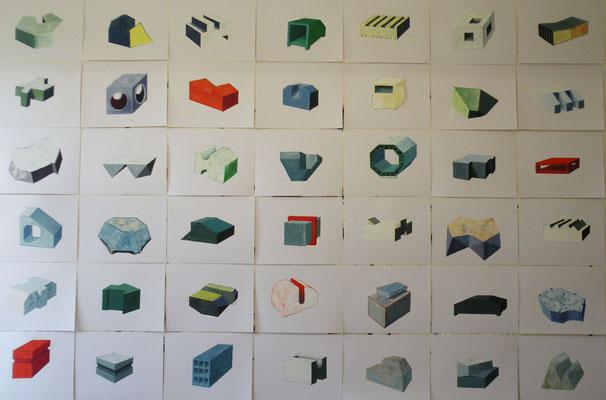 Briques. Huile/papier . 42 papiers de  50/65 cm . 2014