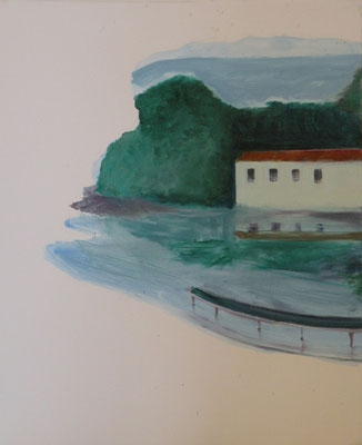 Ponton. huile et acrylique/toile. 60/40cm. 2017