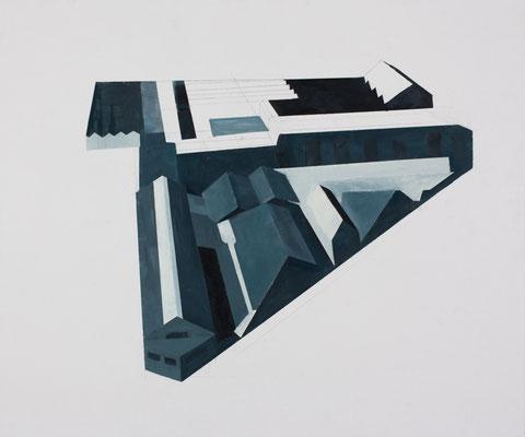 Usine. Huile et acrylique sur toile.54/65 cm . 2014