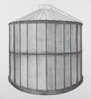 Silo. graphite sur toile. 160.160 cm . 2014