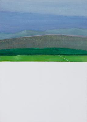 Paysage du dimanche matin. Huile et acrylique sur toile. 46/34 cm . 2015