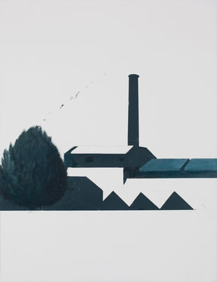 Usine. Huile et acrylique sur toile. 65/50 cm . 2014