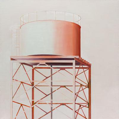 Citerne rouge . huile et acrylique sur toile. 200/200cm. 2017