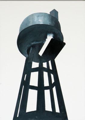 Usine. huile et acrylique sur toile. 66/46 cm  . 2014