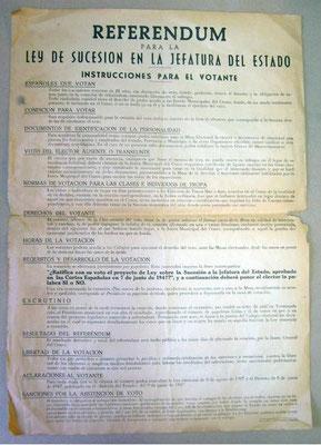 Referendum de la Ley de Sucesión del Estado de 1947. Instrucciones para el votante.