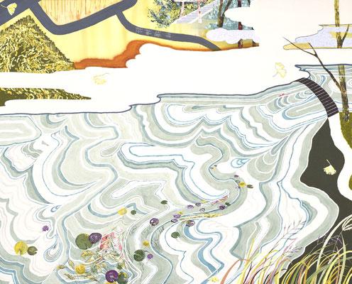 名もなき池,2017/1315×1628mm/綿布にアクリル絵具、水晶/2017/撮影:怡土鉄夫
