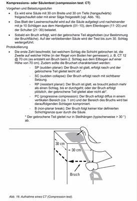 Kompressionstest bzw. Säulentest  (Quelle: SLF-Beobachterhandbuch)