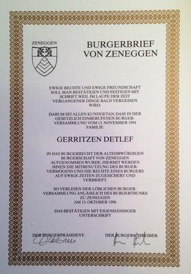 Burgerbrief Zeneggen Detlef Gerritzen