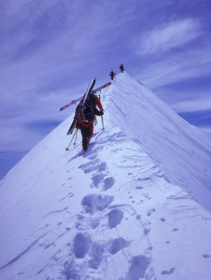 auf dem Gipfelgrat des Castor (1986)