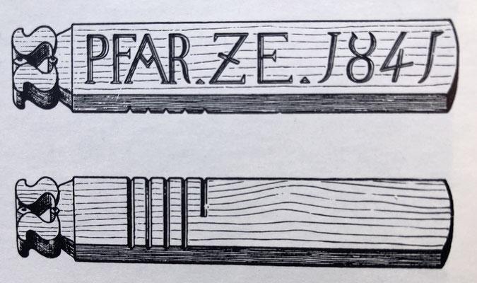 Wässertesslen der Augstbordwasserleitung (Quelle: Alpinmonographie Stebler, 1921)