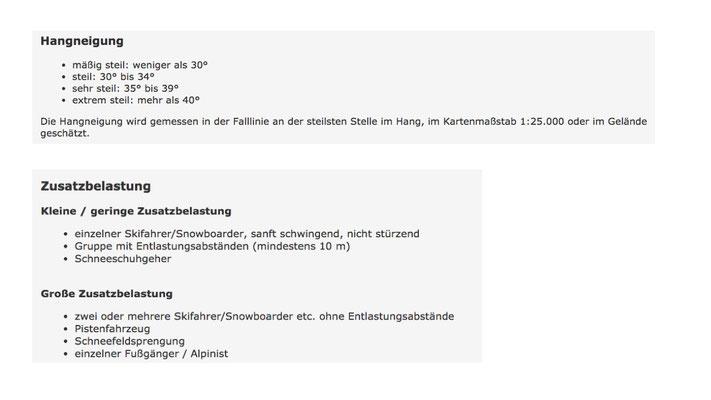 Hangneigungsklassen / Zusatzbelastung (http://www.avalanches.org/eaws/en/includes/glossary/glossary_de_all.html)