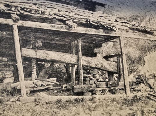 Triel im Gstein in Zeneggen mit Jahreszahl 1741 (Quelle: Alpinmonographie Stebler, 1921)