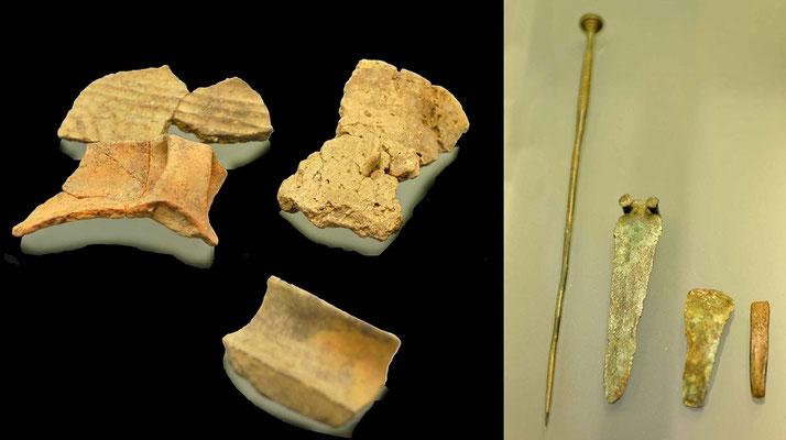 Fundstücke (mittel-bronzezeitliche Höhensiedlung auf dem Kasteltschuggen) (kantonales archeologisches Museum in  Sion)