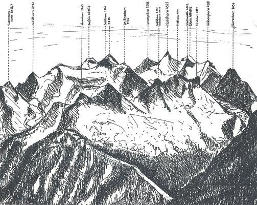 Gipfel der Mischabelgruppe (Skizze von Thomas Schaerer)