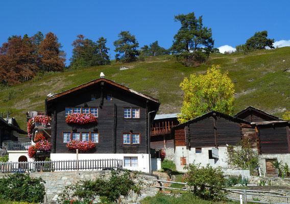Typische Walliser Holzhäuser im Dorfzentrum von Zeneggen unterhalb des Biels