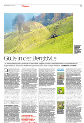 """NZZ am Sonntag, 19.9..12.2021,  Seite 55, """"Gülle in der Bergidylle"""""""