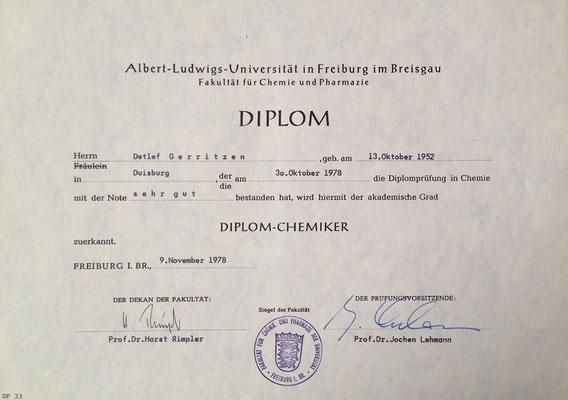 Diplomurkunde Detlef Gerritzen