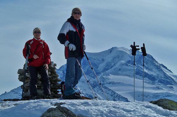 Besuch von Imma Hillerich & Manfred Schmitz im Wallis (Fotos von gemeinsamer Schneeschuhtour oberhalb Visperterminen)