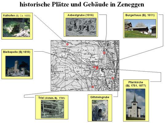 historische Plätze in Zeneggen  (Zusammenstellung von Detlef Gerritzen)
