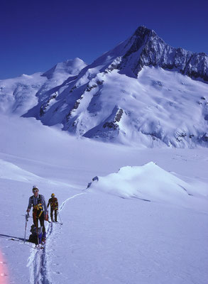 im Anstieg zum Grosswannenhorn, Hintergrund Finsteraarhorn (1985)