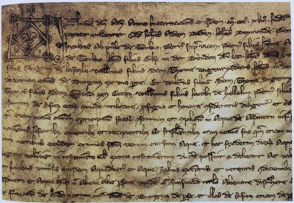 älteste Urkunde aus dem Gemeindearchiv Zeneggen: Vertrag vom 1.2.1343 über den Kauf von Wasserrechten aus der alten Augstbordwasserleitung (Alti Niwi Augstborderi)
