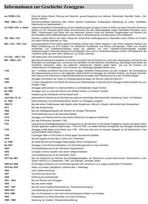 Übersicht über die Geschichte von Zeneggen mit Jahreszahlen (Zusammenstellung von Detlef Gerritzen)