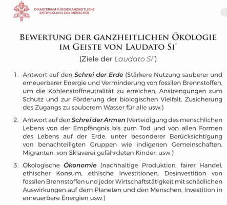 """Auszug Zielkatalog zur Enzyklika """"Laudato si' - über die Sorge für das gemeinsame Haus"""" von Papst Franziskus"""