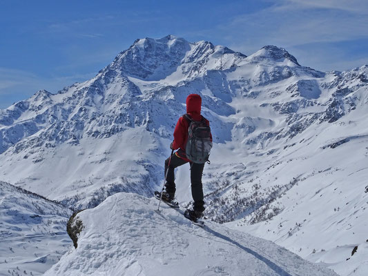 mit Schneeschuhen oberhalb Simplonpass