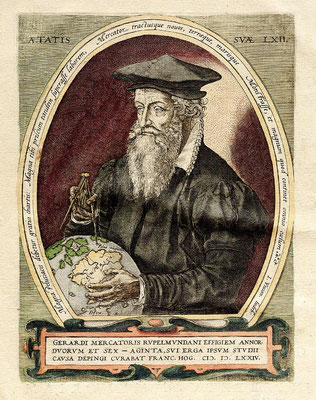 Gerhard Mercator, Kupferstich von Frans Hogenberg (Quelle: WIKIPEDIA: https://commons.wikimedia.org/wiki/File:Gerardus_Mercator_3.jpg)