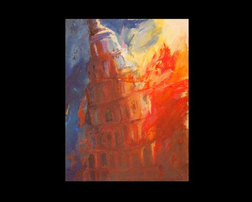 Der Turmbau zu Babel, 130x100 cm, Acryl auf Pappe, Holzrahmen (74)