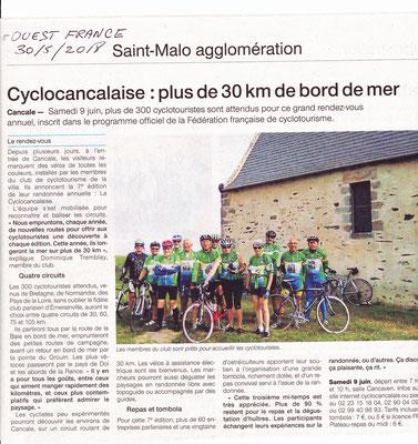 Ouest France 29 mai 2018 Cyclocancalaise