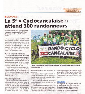 Le Pays Malouin 15/6/2017 annonce cyclocancalaise
