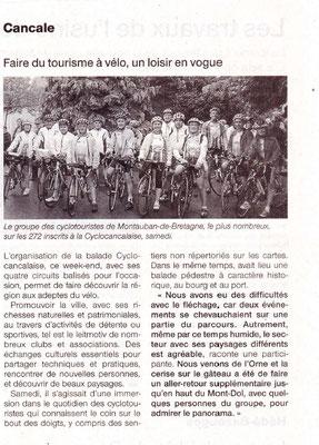 Ouest-France du 13/06/2016 - Faire du tourisme à vélo, un loisir en vogue