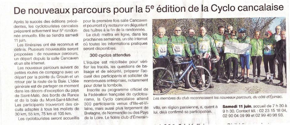 Ouest-France du 4/05/2016 - Nouveaux parcours pour la 5e Cyclocancalaise