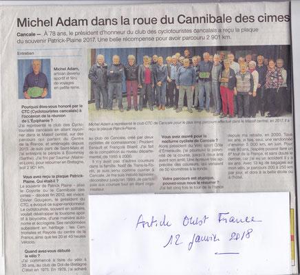 Ouest France 12 janvier 2018 interview michel Adam