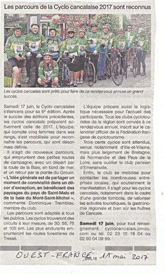 Ouest-France 11/05/2017 - Les parcours de la Cyclocancalaise 2017 sont reconnus