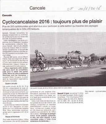 Ouest-France du 10/06/2016 - Cyclocancalaise 2016 : Toujours plus de plaisir