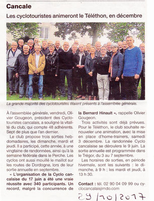 Ouest france 28/10/2017 AG CTC