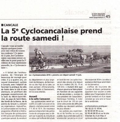 Le Pays Malouin du 9/06/2016 - La 5e Cyclocancalaise prend la route samedi
