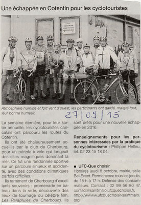 Ouest-France du 27/09/2015 - Les cyclos cancalais ont sillonné les routes de cette très belle région du Cotentin