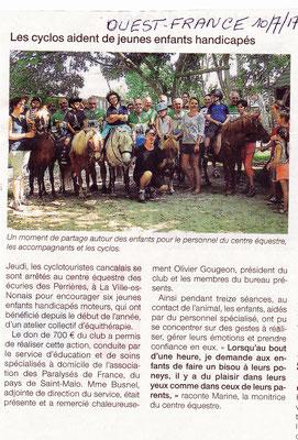 Ouest France 10 7 2017 action Jeunes enfants handicapés