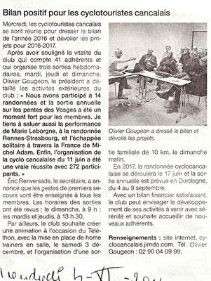 Ouest-France du 4/11/2016 - AG 2016 - Bilan positif pour les cyclotouristes Cancalais