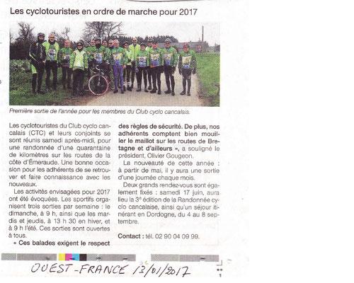 Ouest-France 13/01/2017 - Sortie Galette des rois