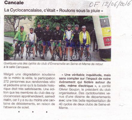 """Ouest-France du 12/06/2016 - La Cyclocancalaise, c'était """"Roulons sous la pluie"""""""