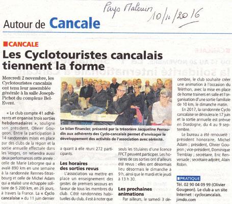 Le Pays Malouin 10/11/2016 - AG 2016 - Les cyclotouristes Cancalais tiennent la forme