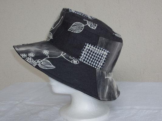chapeau femme été patchwork gris