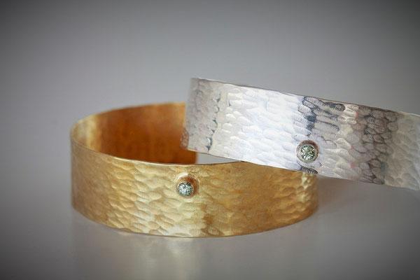 Bracelets Ecorce  - argent saphir vert d'eau - vermeil saphir vert d'eau