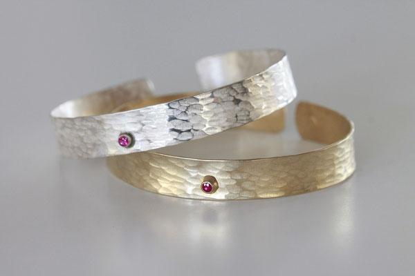 bracelet Scortea rubis en argent ou vermeil (argent doré à l'or pur 24ct)