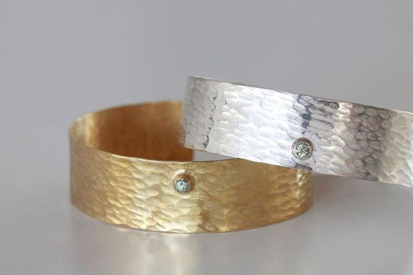 bracelet Scortea saphir vert d'eau en argent ou vermeil (argent doré à l'or pur 24ct)